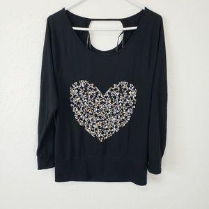 Jessica Simpson | Black Graphic Heart Top